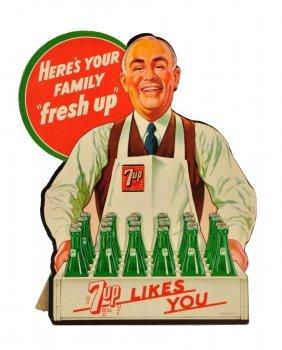1948 7 - Up Cardboard Grocer Cut Out.
