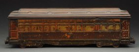 French Tin Litho Train Car Biscuit Tin.