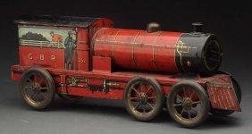 English Tin Litho Railroad Engine Biscuit Tin.