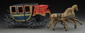 Early French Horse Drawn Carriage Toy.