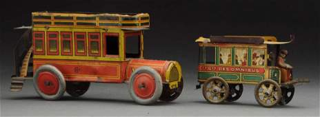 Lot of 2 European Tin Litho Bus Penny Toys