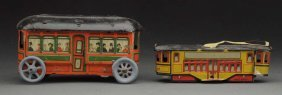 Lot Of 2: German Tin Litho Nickel-size Trolleys.
