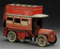 German Tin Litho WindUp Double Decker Bus Toy