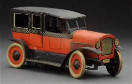 German Tin Litho WindUp Orobr Checkered Taxi Toy