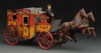 German Tin Litho WindUp Orobr HorseDrawn Coach