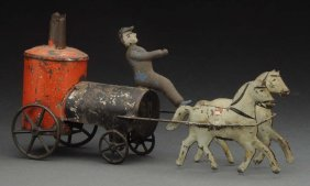 Petite Early American Tin Horse Drawn Fire Pumper