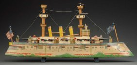 Early American Made Paper On Wood Battleship Toy.