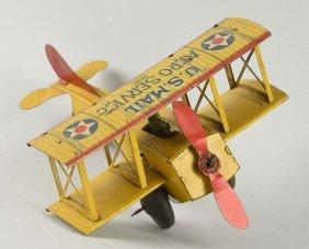 Unusual Tin Litho Wind Up Mohawk Airplane.