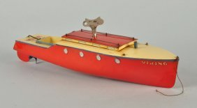 English Hornby Tin Litho Clockwork Speedboat.