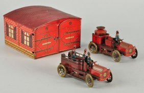 German Orobr Tin Litho Fire Station With Vehicles.