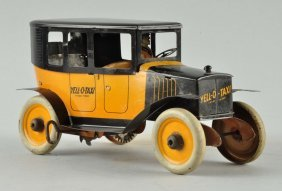 Strauss Tin Litho Wind-up Yellow Taxi Toy.