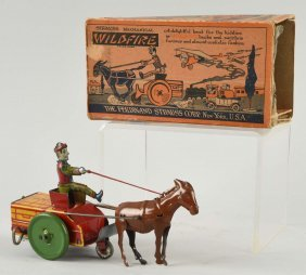 Strauss Tin Litho Wind Up Wildfire Toy.
