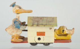 Lionel Donald Duck Wind Up Hand Car Toy.