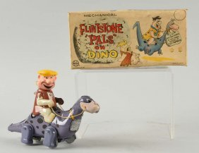 Marx Tin Litho Wind-up Barney Rubble On Dino Toy.