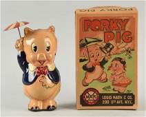 Marx Tin Litho Wind Up Porky Pig w Umbrella Toy