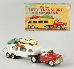 Japanese Tin Litho Friction Auto Transport Toy.