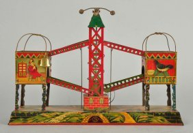Pre-war Japanese Tin Litho Wind-up Ball Toss Toy.