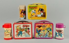 Lot Of 3: Assorted Lunch Boxes With Thermos.