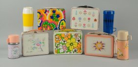 Lot Of 5: Assorted Lunch Boxes With Thermos.