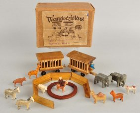 Miniature Wooden Circus Animals With 2 Cages.