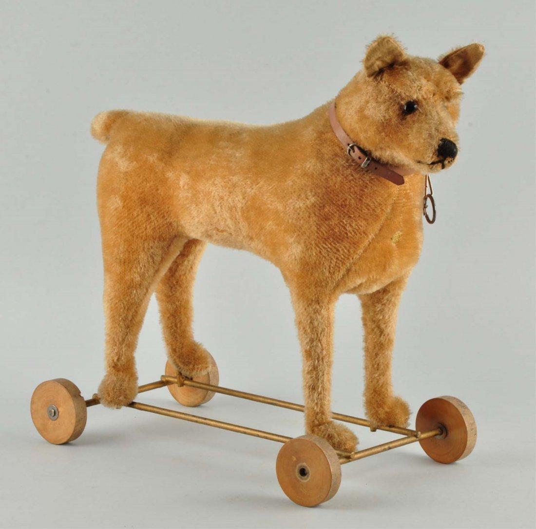 Pintel Fils' Mohair Dog On Wheels with ID.