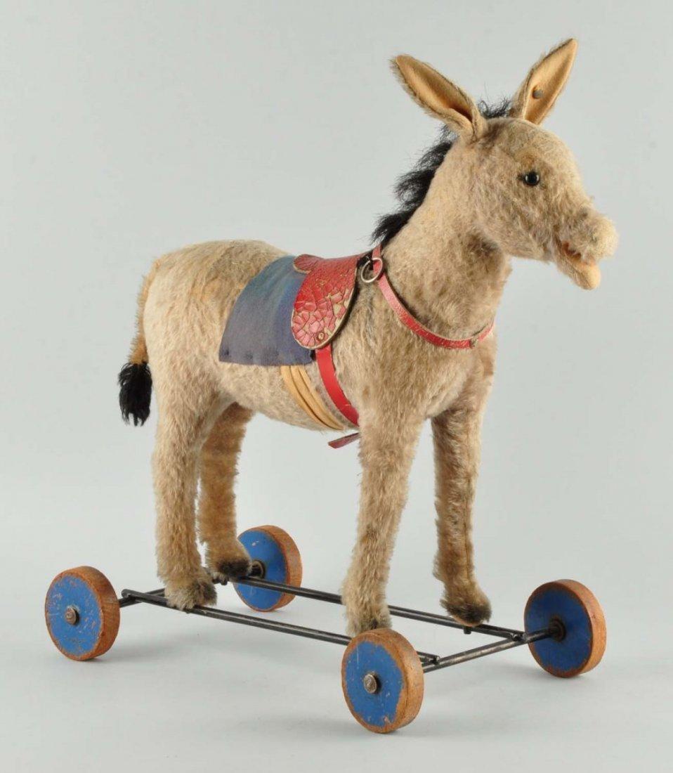Prewar Steiff Mohair Donkey on Wheels With ID.