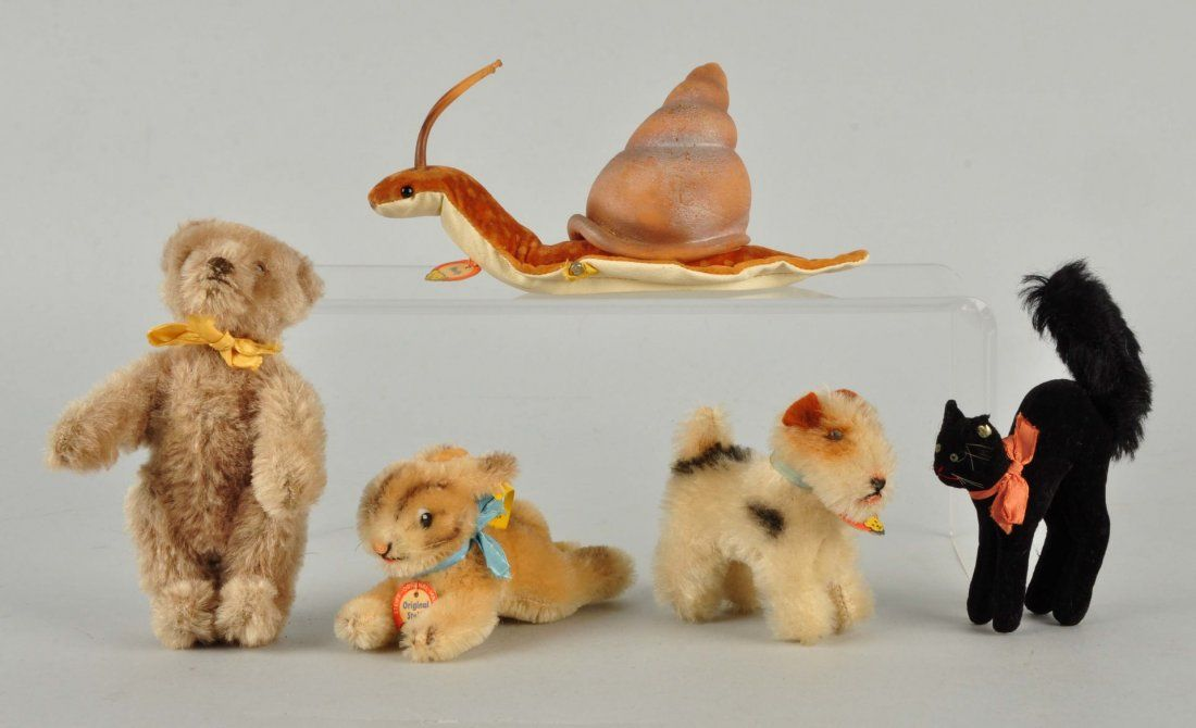 5 Steiff Mohair & Velvet Miniature Animals w/ IDs.