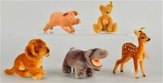 Five Steiff Mohair & Velvet Mini Animals With IDs.