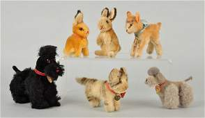 Six Steiff Mohair Miniature Animals With ID