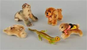 5 Steiff Mohair &Velvet Miniature Animals w/ IDs.