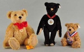 Three Charming Mohair Steiff Teddy Bears With Ids.