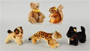 Five Steiff Mohair Miniature Animals With IDs.