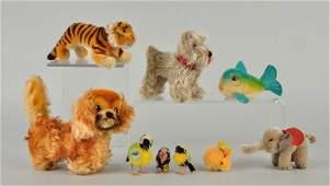 Nine Steiff Mohair & Woolen Mini Animals With IDs.