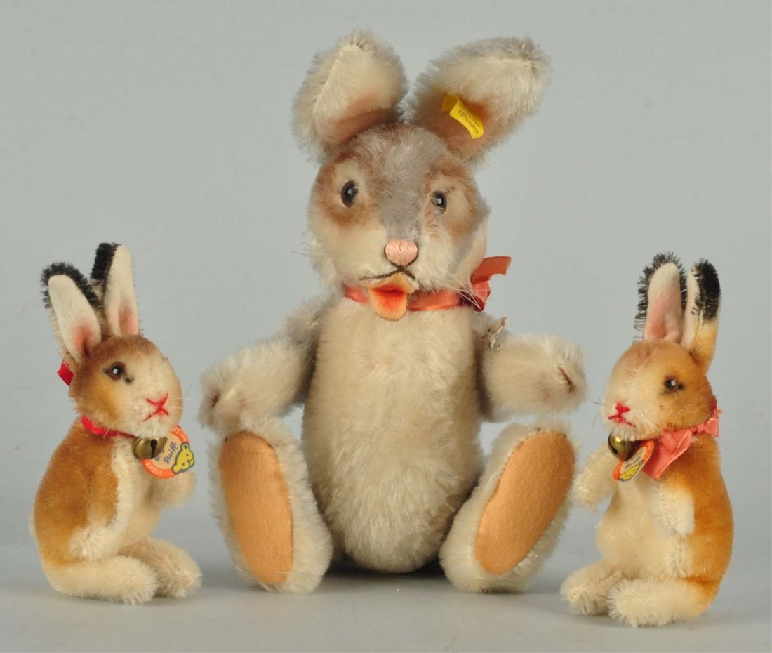 Lot of 3 Charming Early Post War Steiff Rabbits.