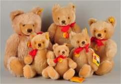Family Of 6 Caramel Mohair Original Teddy Bears.