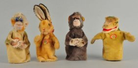 Four Steiff Puppets With Ids.