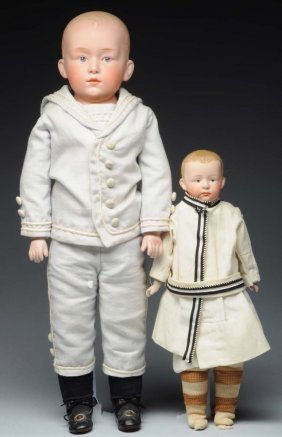 Lot Of 2: Heubach Character Dolls.