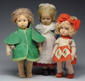 Lot Of 3: Felt Cloth Dolls.