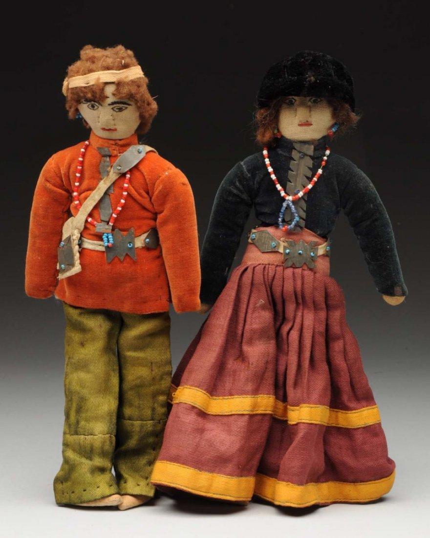 Lot of 2: Cloth Native American Dolls.