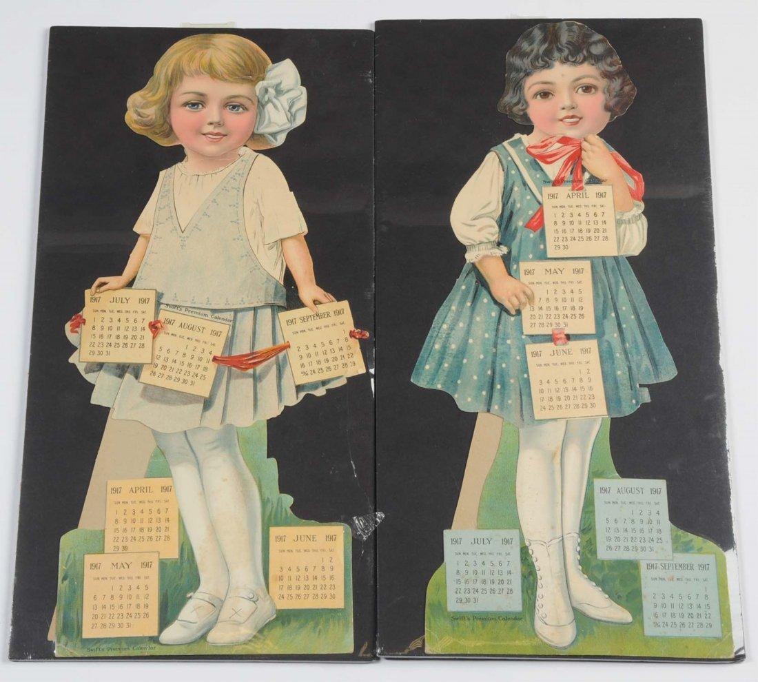 Lot of 2: Swift's Premium 1917 Calendar Dolls.