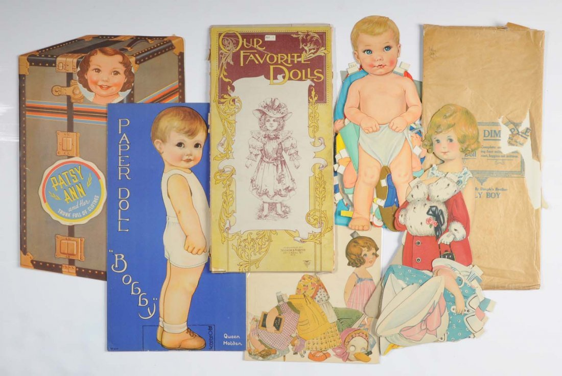 Lot of Large Antique Paper Dolls.