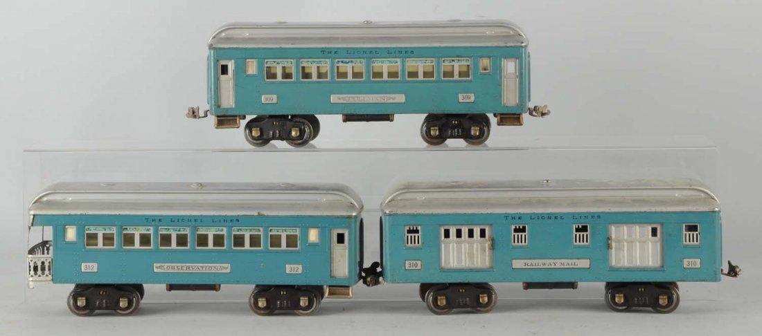Lot of 3: Lionel Blue & Silver Passenger Cars.