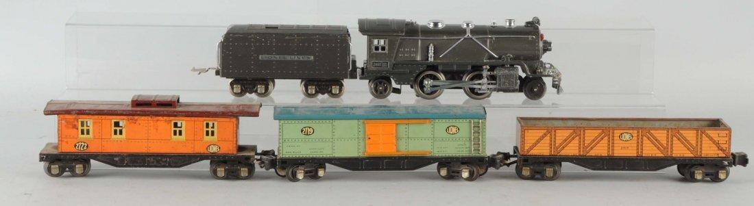 Lot of 5:Lionel No. 249E Loco. & Tin Litho Cars.