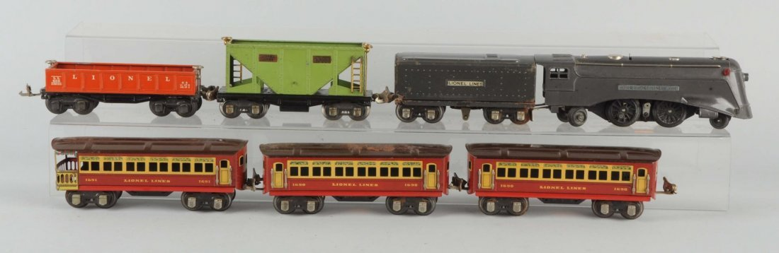 Lot of 7: Lionel No.1689E Locomotive & Cars.