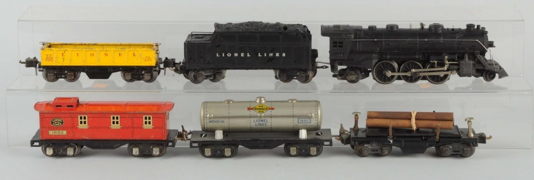 Lot of 6:Lionel No.1666 Locomotive & Freight Cars.