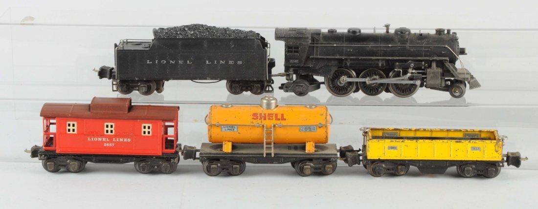 Lot of 5:Lionel No.224E Locomotive & Freight Cars.