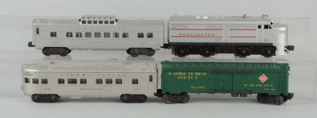Lot of 4: Lionel No. 216 Burlington Alco & Cars.