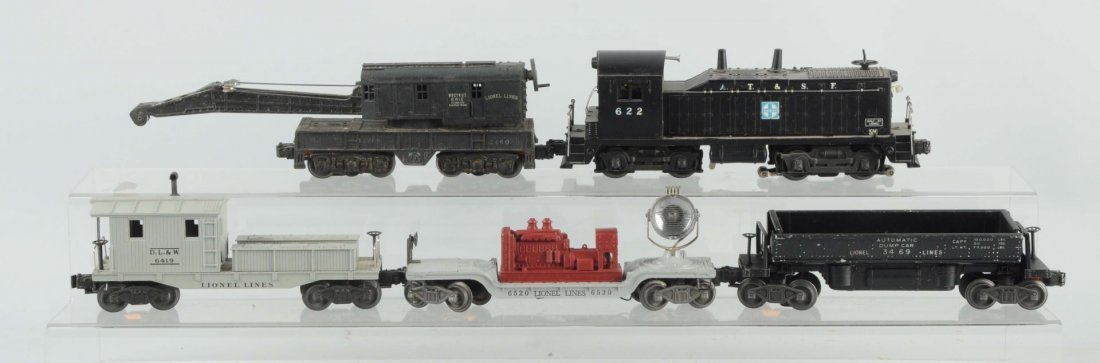 Lot of 5: Lionel No.622 Locomotive & Freight Cars.