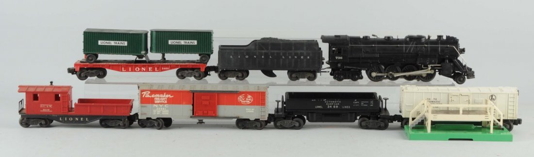 Lot of 9: Lionel No. 736 Engine & Freight Cars.