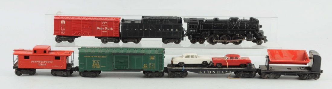Lot of 7: Lionel No. 2037 Engine & Freight Cars.